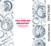english breakfast top view... | Shutterstock .eps vector #584378680