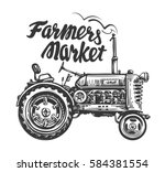 vintage agricultural tractor ... | Shutterstock .eps vector #584381554