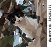 little kitten looks down from... | Shutterstock .eps vector #584381986