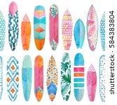 watercolor surfboard pattern.... | Shutterstock . vector #584383804