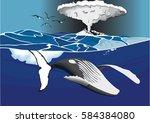 whale swim under volcano | Shutterstock .eps vector #584384080