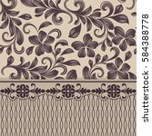 seamless beige and brown floral ... | Shutterstock .eps vector #584388778