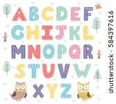 funny forest alphabet for kids. ... | Shutterstock .eps vector #584397616