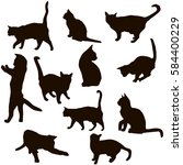 set of silhouettes of cats in... | Shutterstock .eps vector #584400229