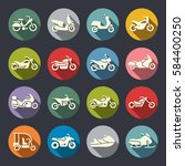 motorcycle icon set | Shutterstock .eps vector #584400250