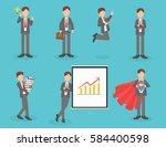 vector set of businessman... | Shutterstock .eps vector #584400598