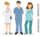 group of doctors in a hospital  ... | Shutterstock . vector #584401270