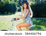 young girl with curly hair...   Shutterstock . vector #584406796