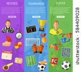 three vertical soccer banners... | Shutterstock .eps vector #584409028