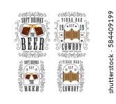 cowboy bar salon beer vector... | Shutterstock .eps vector #584409199