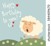 happy birthday to you  funny... | Shutterstock .eps vector #584409670