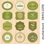 set of natural label and... | Shutterstock .eps vector #584411098