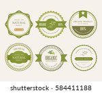 set of natural label and... | Shutterstock .eps vector #584411188