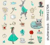 alice in wonderland seamless... | Shutterstock . vector #584411704