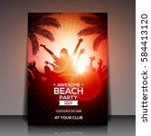 red summer beach party flyer... | Shutterstock .eps vector #584413120