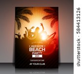 orange summer beach party flyer ... | Shutterstock .eps vector #584413126