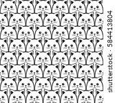 cat seamless pattern. vector... | Shutterstock .eps vector #584413804