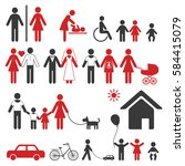set of family icons and signs... | Shutterstock .eps vector #584415079