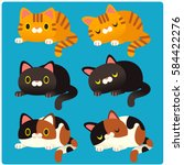 Stock vector cute vector set of different cats crouching sleeping 584422276