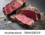 barbecue dry aged wagyu rib eye ... | Shutterstock . vector #584428519