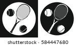 tennis racquet and tennis ball... | Shutterstock .eps vector #584447680