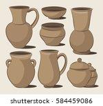 rustic ceramic utensils | Shutterstock .eps vector #584459086