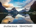 Misty golden mountain range and its reflection at Milford Sound, New Zealand with a moving white egret
