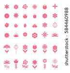 set of flat icon flower icons... | Shutterstock .eps vector #584460988