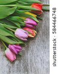 bouquet of colorful tulips on... | Shutterstock . vector #584466748