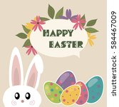 easter card with easter eggs... | Shutterstock .eps vector #584467009