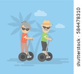 Old Couple On Gyro Scooter....