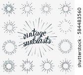 set of sunbursts graphic... | Shutterstock . vector #584483560