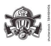 Fireman Head In Helmet  Gas...