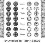 chakras vector set   ayurveda ... | Shutterstock .eps vector #584485609
