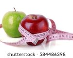 green and red apples and... | Shutterstock . vector #584486398