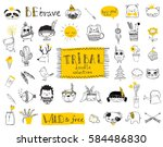 vector set of cute isolated... | Shutterstock .eps vector #584486830