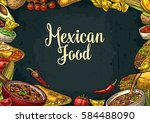 mexican traditional food... | Shutterstock .eps vector #584488090