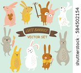 vector set of cute bunnies in... | Shutterstock .eps vector #584502154