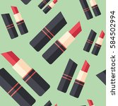 red lipstick flat icon seamless ...   Shutterstock .eps vector #584502994