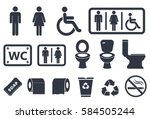 toilet icons on white background | Shutterstock .eps vector #584505244