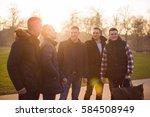 closeup of group male friends... | Shutterstock . vector #584508949