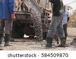 pouring cement during for... | Shutterstock . vector #584509870