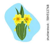 beautiful daffodils green... | Shutterstock .eps vector #584512768