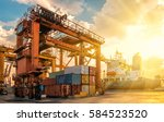 container container ship in... | Shutterstock . vector #584523520