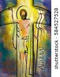easter resurrection religious... | Shutterstock . vector #584527528