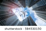 aircraft flying between... | Shutterstock . vector #584530150