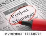 project manager. newspaper with ... | Shutterstock . vector #584535784