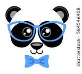 cute panda with butterfly tie... | Shutterstock .eps vector #584546428