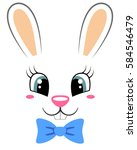 cute bunny with butterfly tie.... | Shutterstock .eps vector #584546479
