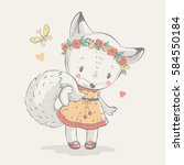 Cute Little White Fox In Dress...